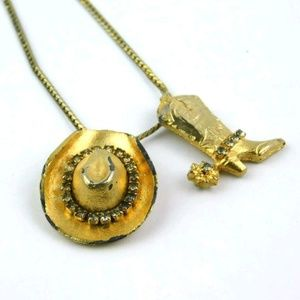 Jewelry - Vintage Cowboy Boot & Hat Gold Tone Necklace
